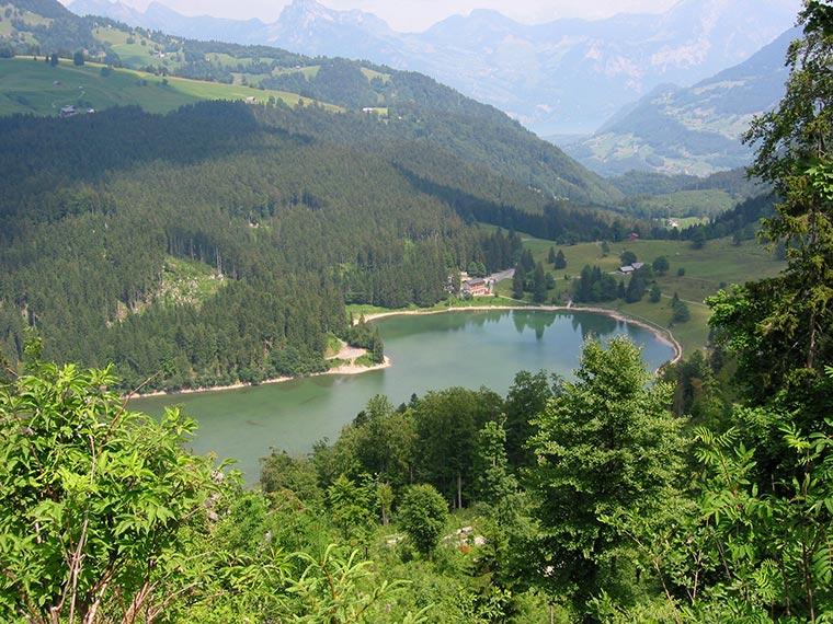 Obersee mit Rest. Rhodannenberg im Hindergrund